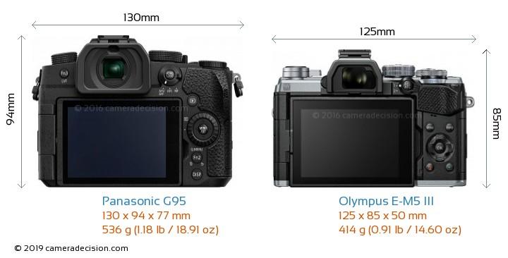 Panasonic G95 vs Olympus E-M5 III Camera Size Comparison - Back View