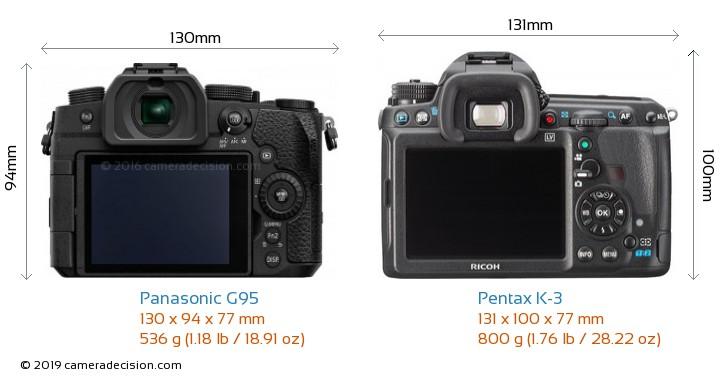 Panasonic G95 vs Pentax K-3 Camera Size Comparison - Back View