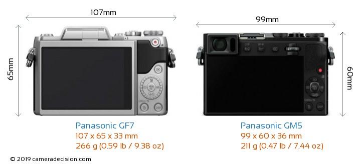 Panasonic GF7 vs Panasonic GM5 Camera Size Comparison - Back View