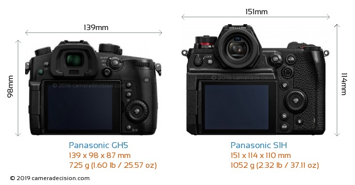 Panasonic GH5 vs Panasonic S1H Camera Size Comparison - Back View
