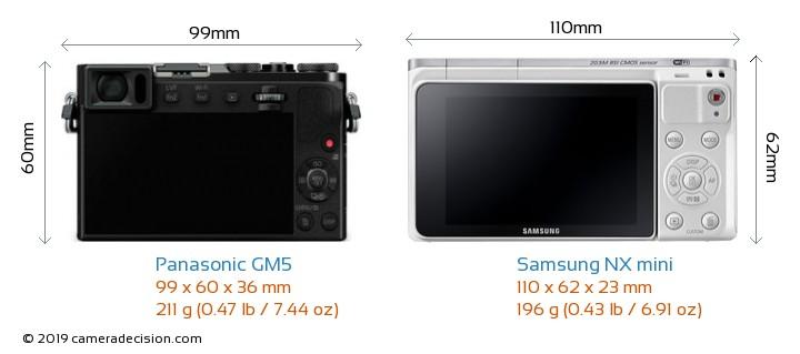 Panasonic GM5 vs Samsung NX mini Camera Size Comparison - Back View
