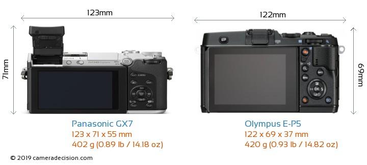 Panasonic GX7 vs Olympus E-P5 Camera Size Comparison - Back View