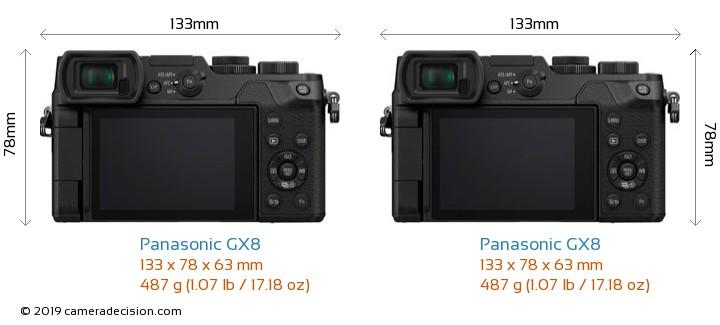Panasonic GX8 vs Panasonic GX8 Camera Size Comparison - Back View