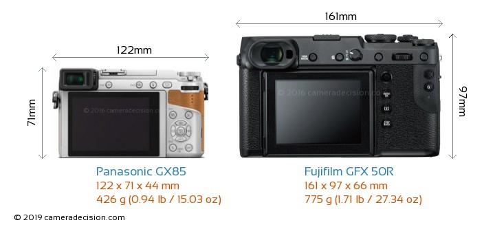 Panasonic GX85 vs Fujifilm GFX 50R Camera Size Comparison - Back View