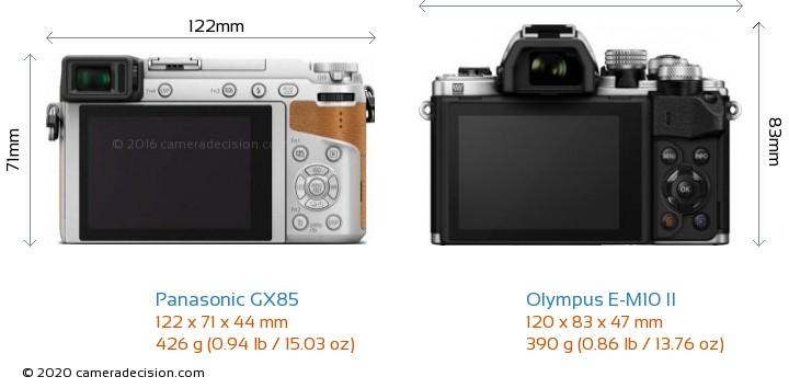 Panasonic GX85 vs Olympus E-M10 II Camera Size Comparison - Back View