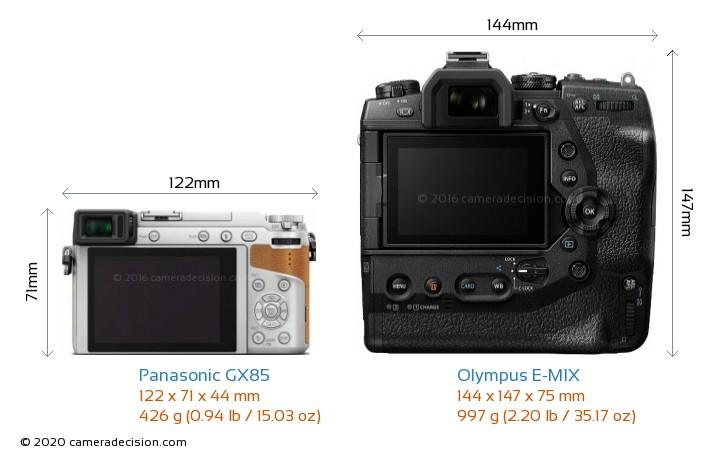 Panasonic GX85 vs Olympus E-M1X Camera Size Comparison - Back View