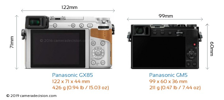 Panasonic GX85 vs Panasonic GM5 Camera Size Comparison - Back View