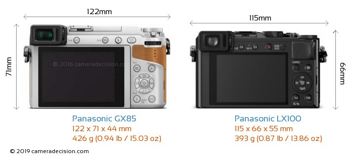 Panasonic GX85 vs Panasonic LX100 Camera Size Comparison - Back View