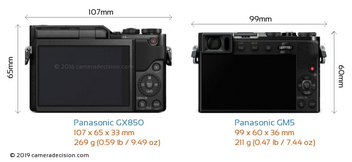 Panasonic GX850 vs Panasonic GM5 Camera Size Comparison - Back View