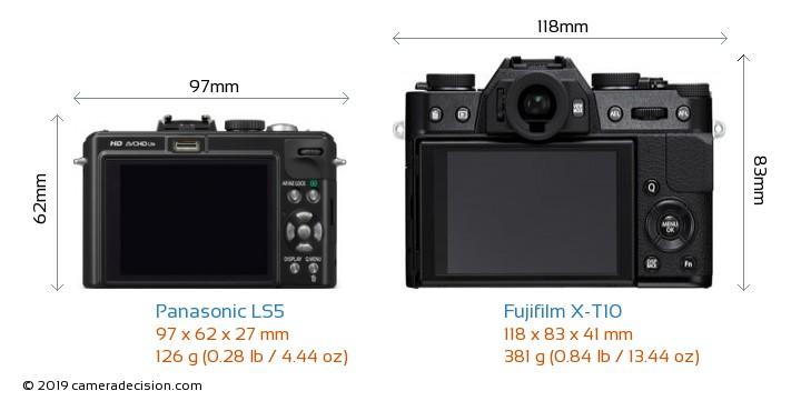 Panasonic LS5 vs Fujifilm X-T10 Camera Size Comparison - Back View