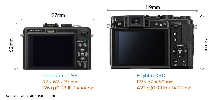 Panasonic LS5 vs Fujifilm X30 Camera Size Comparison - Back View