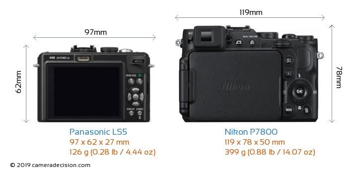 Panasonic LS5 vs Nikon P7800 Camera Size Comparison - Back View