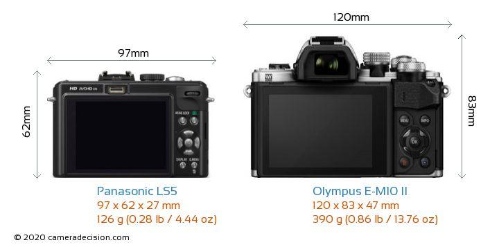 Panasonic LS5 vs Olympus E-M10 II Camera Size Comparison - Back View