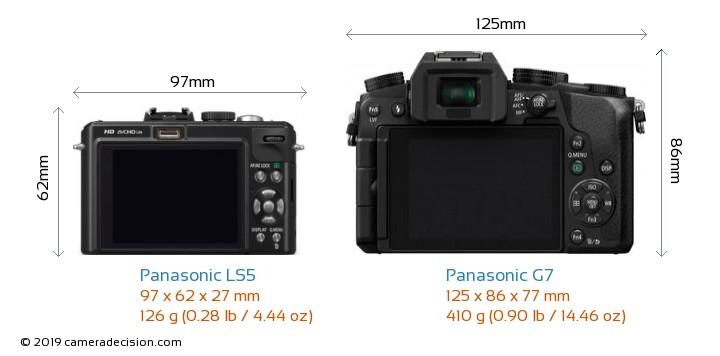 Panasonic LS5 vs Panasonic G7 Camera Size Comparison - Back View