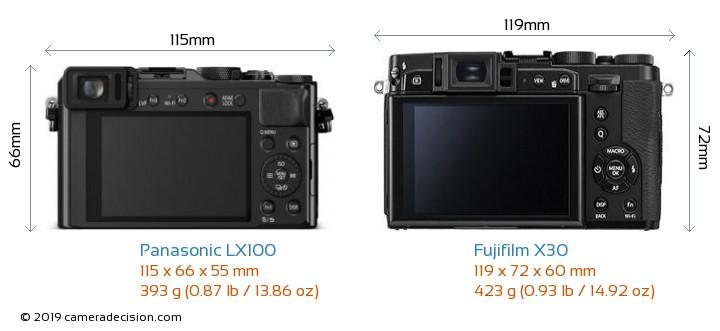 Panasonic LX100 vs Fujifilm X30 Camera Size Comparison - Back View