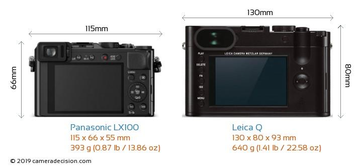 Panasonic LX100 vs Leica Q Camera Size Comparison - Back View