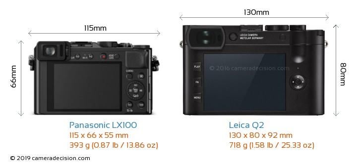 Panasonic LX100 vs Leica Q2 Camera Size Comparison - Back View