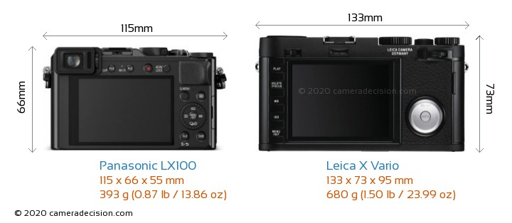 Panasonic LX100 vs Leica X Vario Camera Size Comparison - Back View