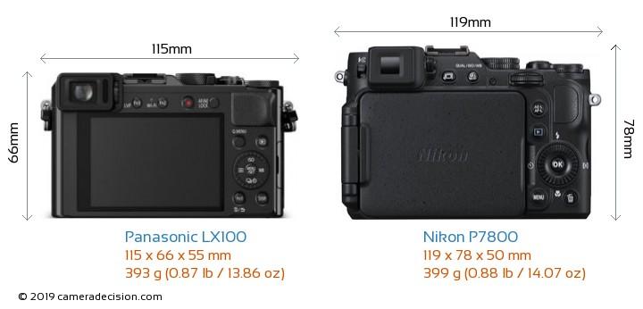 Panasonic LX100 vs Nikon P7800 Camera Size Comparison - Back View