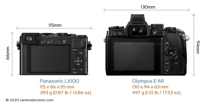 Panasonic LX100 vs Olympus E-M1 Camera Size Comparison - Back View