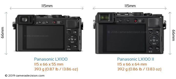 Panasonic LX100 vs Panasonic LX100 II Camera Size Comparison - Back View