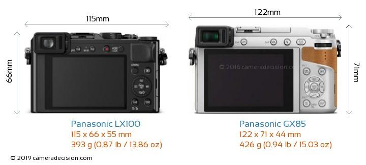 Panasonic LX100 vs Panasonic GX85 Camera Size Comparison - Back View