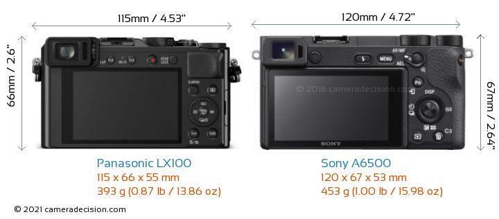 Panasonic LX100 vs Sony A6500 Camera Size Comparison - Back View