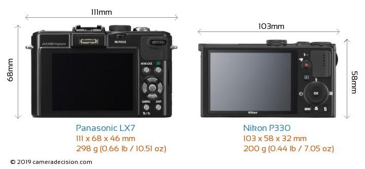 Panasonic LX7 vs Nikon P330 Camera Size Comparison - Back View