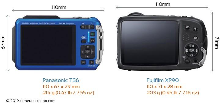 Panasonic TS6 vs Fujifilm XP90 Camera Size Comparison - Back View