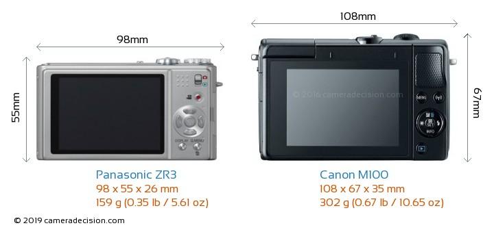 Panasonic ZR3 vs Canon M100 Camera Size Comparison - Back View