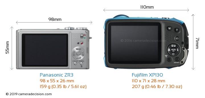 Panasonic ZR3 vs Fujifilm XP130 Camera Size Comparison - Back View