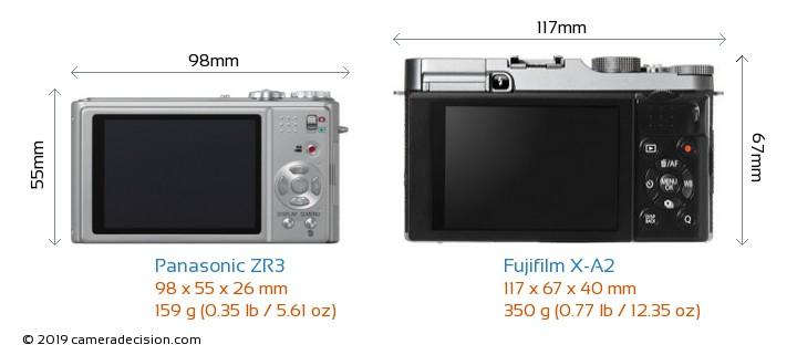Panasonic ZR3 vs Fujifilm X-A2 Camera Size Comparison - Back View