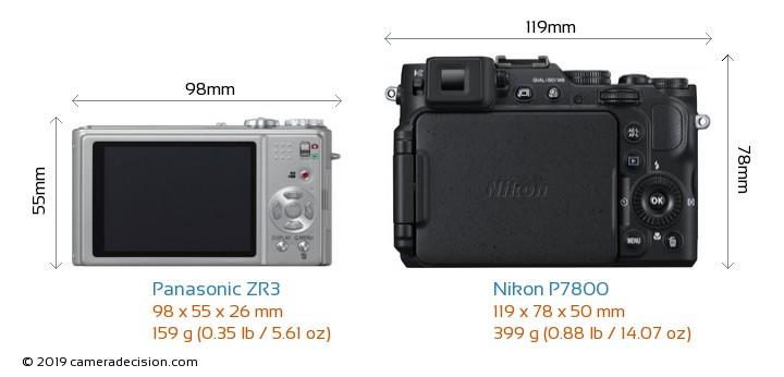 Panasonic ZR3 vs Nikon P7800 Camera Size Comparison - Back View