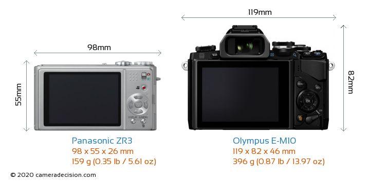 Panasonic ZR3 vs Olympus E-M10 Camera Size Comparison - Back View