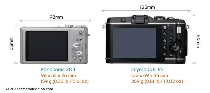Panasonic ZR3 vs Olympus E-P3 Camera Size Comparison - Back View