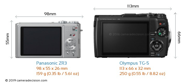 Panasonic ZR3 vs Olympus TG-5 Camera Size Comparison - Back View