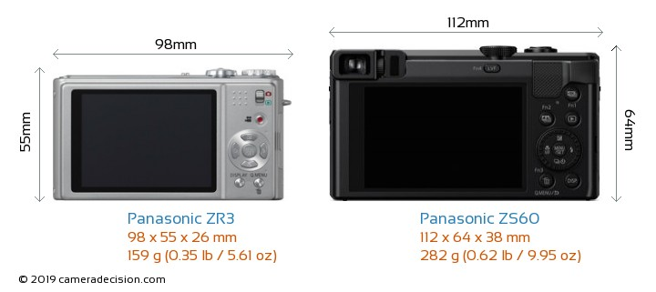 Panasonic ZR3 vs Panasonic ZS60 Camera Size Comparison - Back View