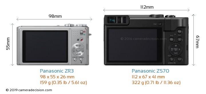 Panasonic ZR3 vs Panasonic ZS70 Camera Size Comparison - Back View