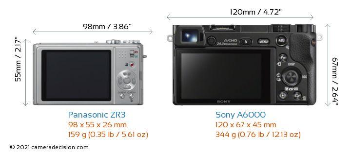 Panasonic ZR3 vs Sony A6000 Camera Size Comparison - Back View