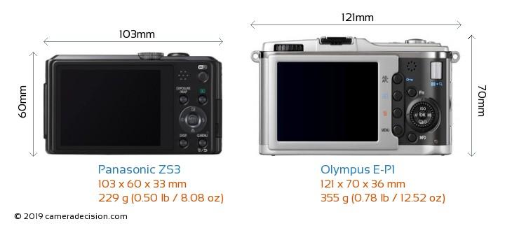 Panasonic ZS3 vs Olympus E-P1 Camera Size Comparison - Back View