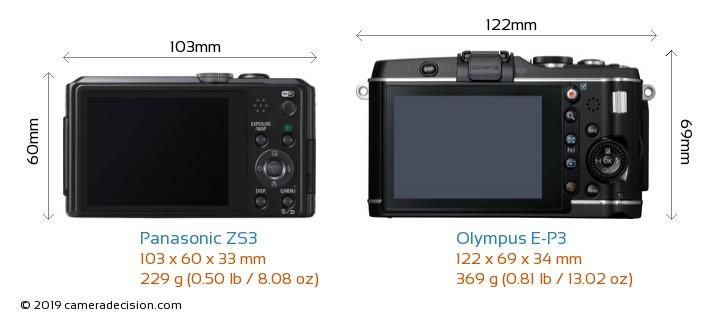 Panasonic ZS3 vs Olympus E-P3 Camera Size Comparison - Back View