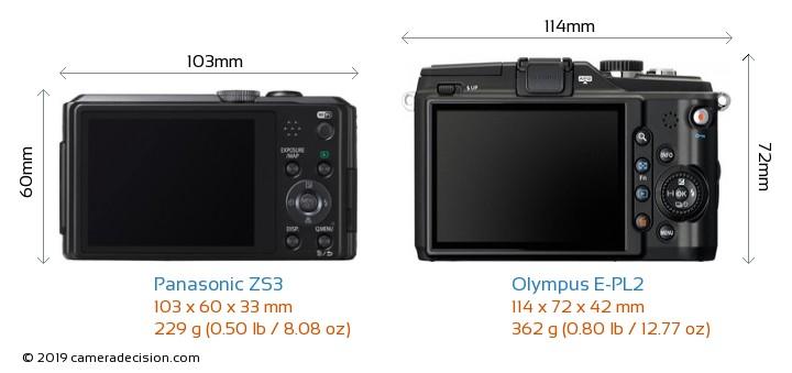 Panasonic ZS3 vs Olympus E-PL2 Camera Size Comparison - Back View