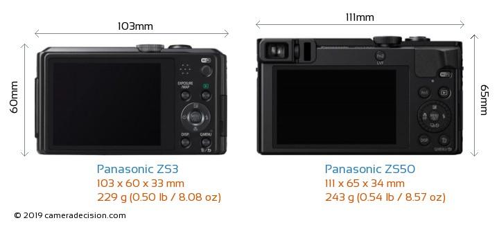 Panasonic ZS3 vs Panasonic ZS50 Camera Size Comparison - Back View