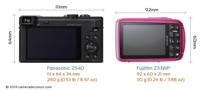 Panasonic ZS40 vs Fujifilm Z33WP Camera Size Comparison - Back View
