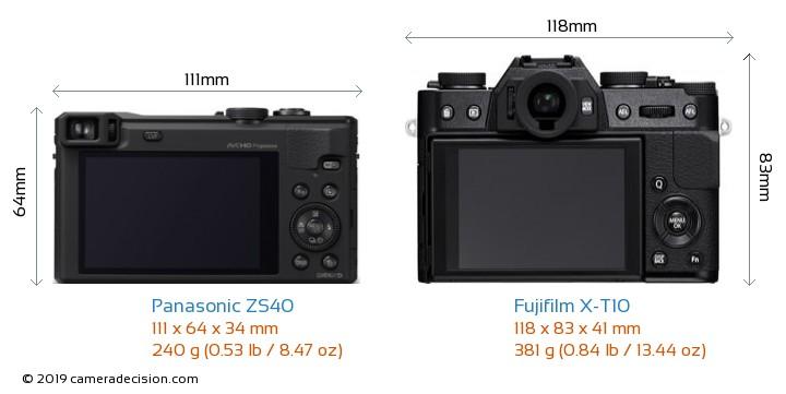 Panasonic ZS40 vs Fujifilm X-T10 Camera Size Comparison - Back View