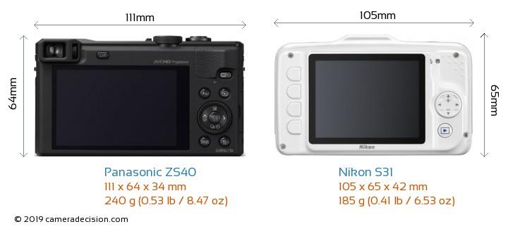 Panasonic ZS40 vs Nikon S31 Camera Size Comparison - Back View