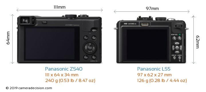 Panasonic ZS40 vs Panasonic LS5 Camera Size Comparison - Back View