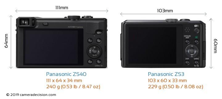 Panasonic ZS40 vs Panasonic ZS3 Camera Size Comparison - Back View