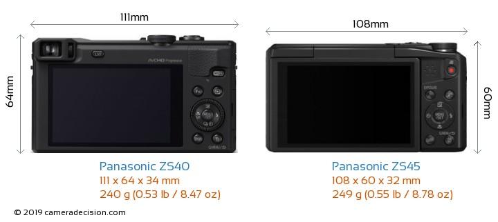 Panasonic ZS40 vs Panasonic ZS45 Camera Size Comparison - Back View