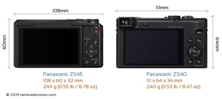 Panasonic ZS45 vs Panasonic ZS40 Camera Size Comparison - Back View